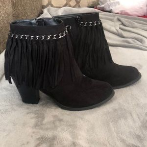 Pierre Dumas Shoes - Black fringe booties